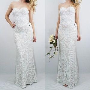 Lulus Olivia White Sequin Strapless Maxi Dress